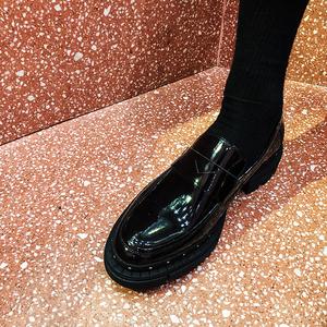 【帽子先森】哇塞原宿松糕鞋黑色厚底套脚牛皮鞋潮男真皮休闲皮鞋