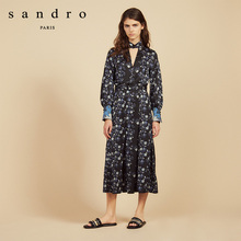 Sandro 2009 Spring and Summer New Women's Fashioned High-collar Deep V-laced Dress R20629E