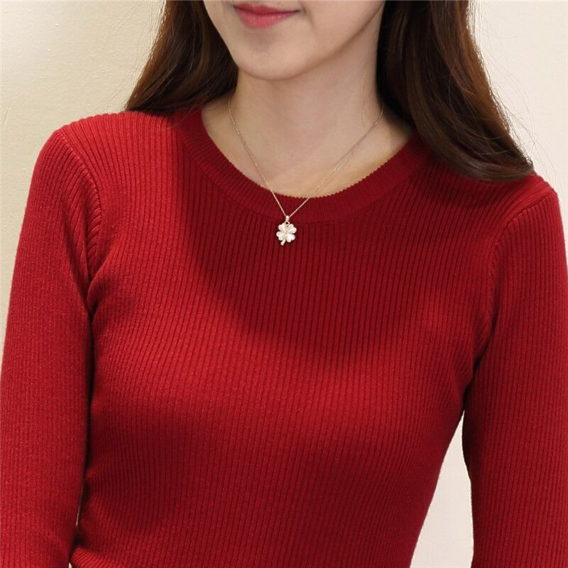 Autumn and winter 2016 new Korean womens dress slim fitting round neck long sleeve Pullover solid color tight bottomed shirt knitted sweater women