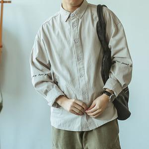 嘿马七作日系复古宽松印花长袖衬衫潮牌休闲工装上衣男士外套衬衣