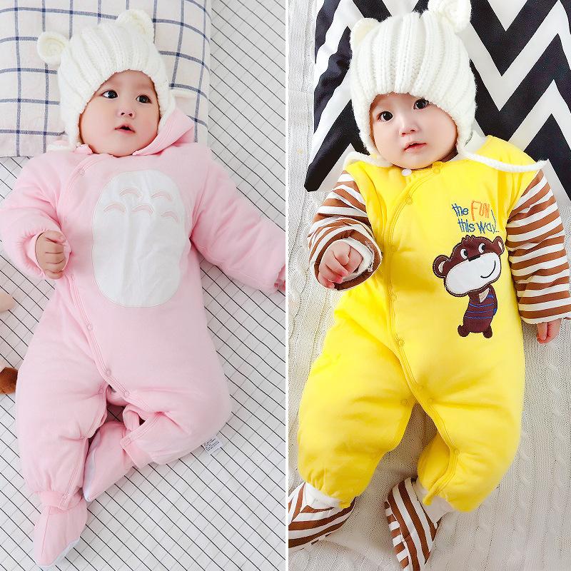 婴儿夹棉连体衣秋冬加厚棉衣宝宝外出保暖抱衣新生儿双层爬服哈衣