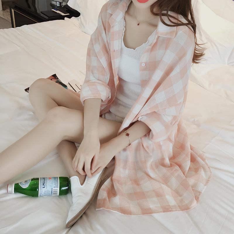 2018夏季新款防晒衣中长款韩版女装长袖百搭格子轻薄防晒开衫外套
