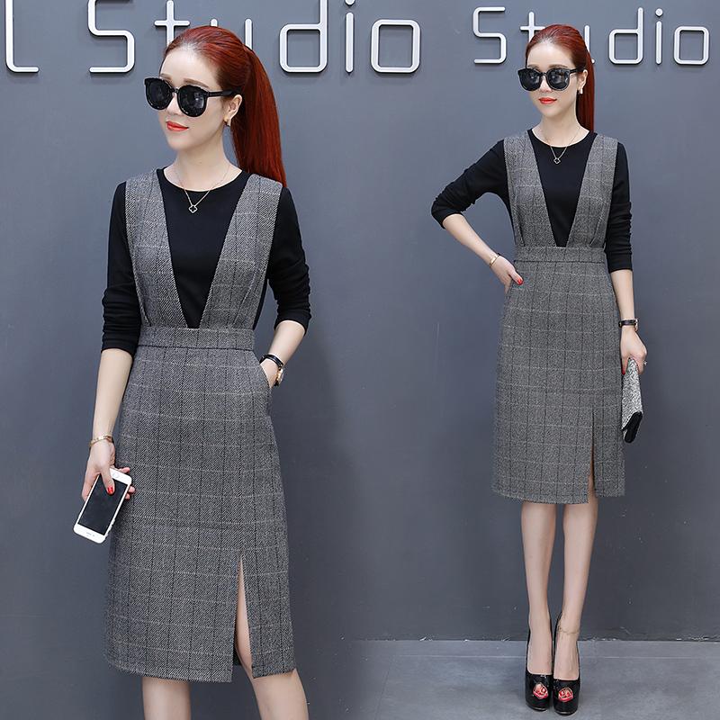 格子背带连衣裙女2017秋冬新款韩版修身时尚套装开叉包裙两件套