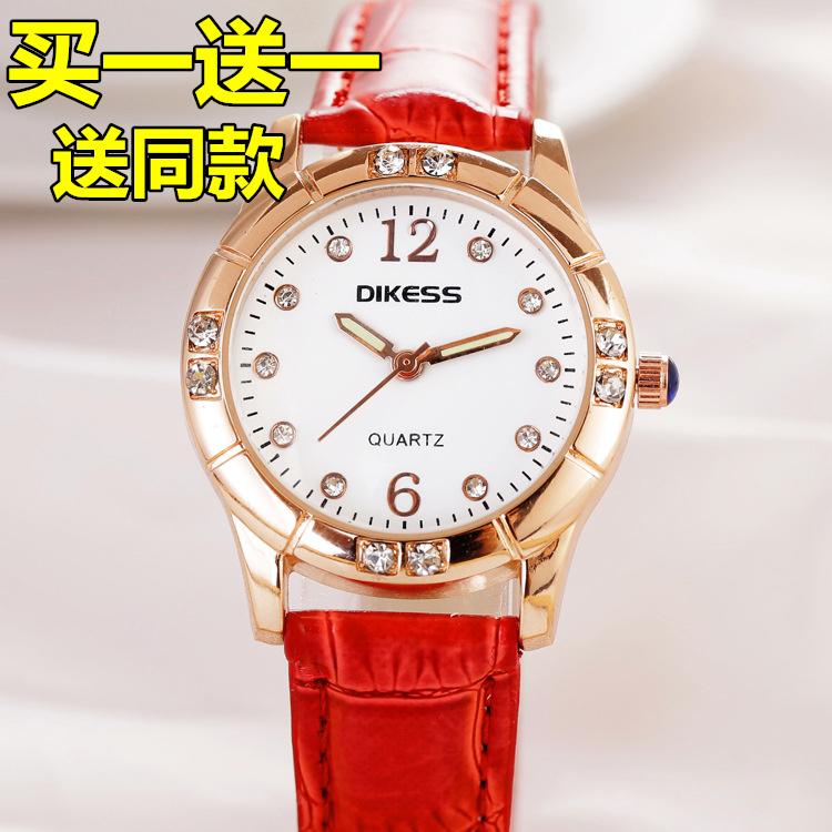 正品牌女士腕表休闲时尚防水镶钻学生皮带女表个性女生手表显气质