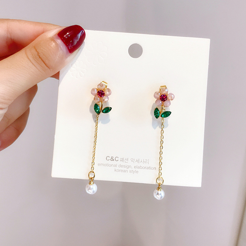 925 silver needle original design flower earrings lovely flower creative Earrings anti allergy net red long earrings