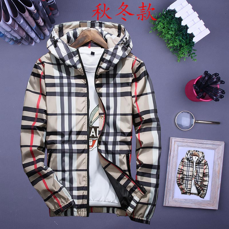 Spring and autumn mens Plaid long sleeve young couples coat hooded jacket sports Korean trend plus cotton jacket winter