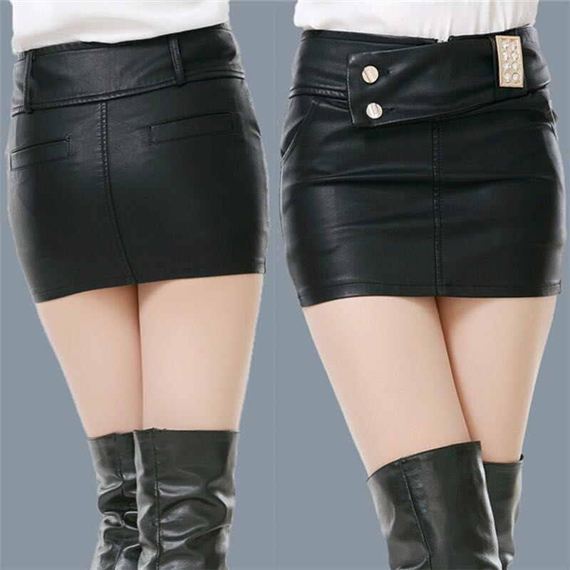Short and versatile, high waist, thin stitching, buttock black small leather skirt, womens tight fashion sexy short skirt