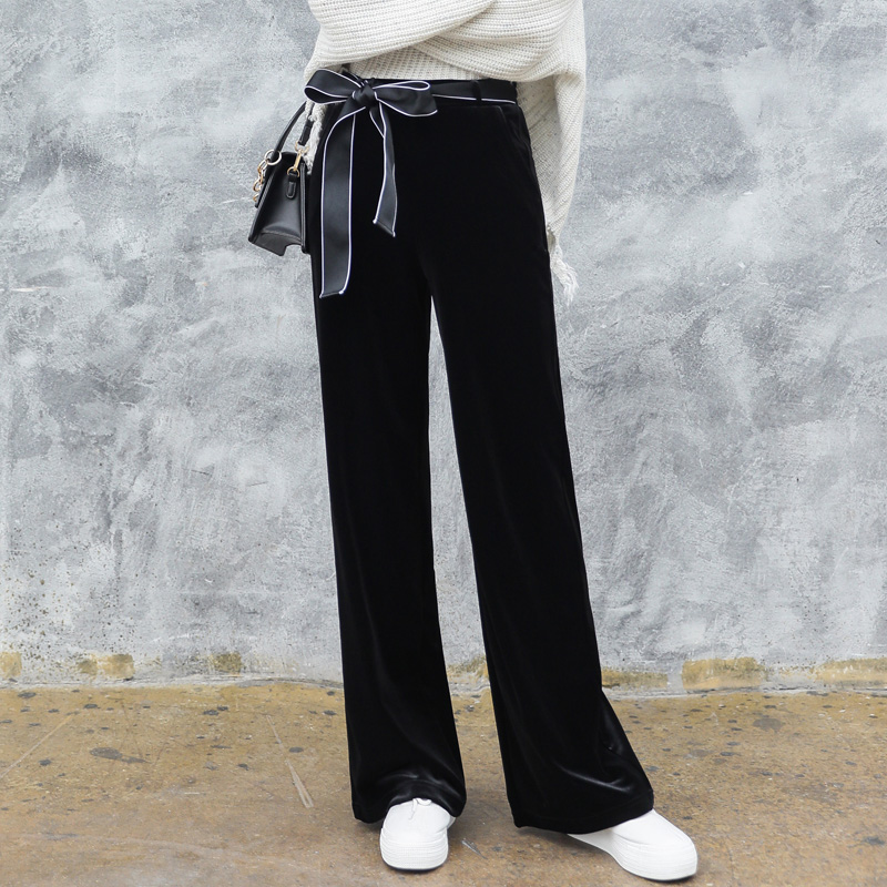 New quality womens clothing in fall / winter 2019: wide back straight pants, velvet wide leg pants and womens casual floor dragging pants