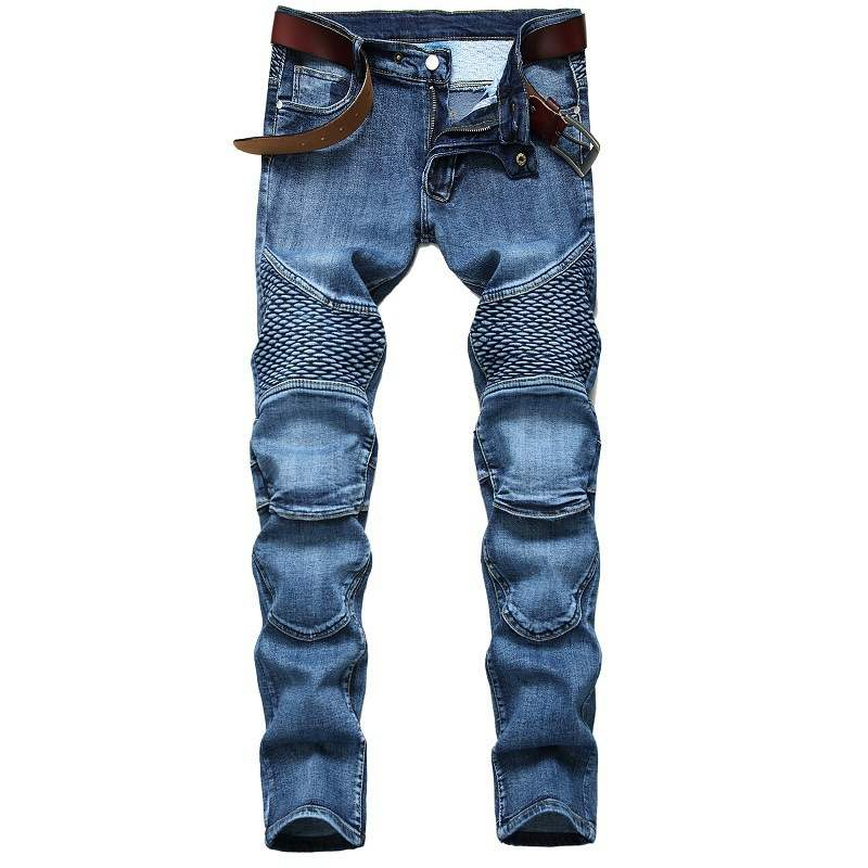 New European and American foreign trade locomotive mens jeans slim straight tube pleated high street retro mens large trousers fashion