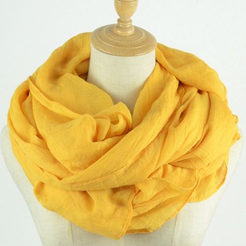 民族风披肩沙漠青海旅游拍照防晒丝巾女纯色棉麻围巾夏季纱巾黄色
