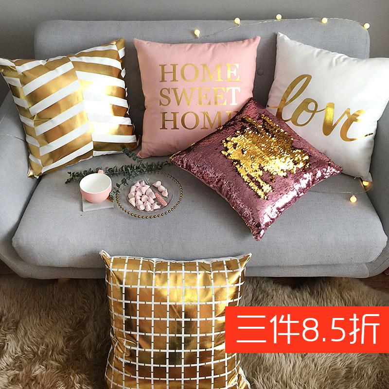 抱枕ins金色北欧靠背沙发靠垫烫金轻奢床头靠枕 网红抱枕套不含芯