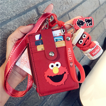芝麻街ins创意多功能卡袋卡包零钱包一体包学生饭卡挂绳公交卡套