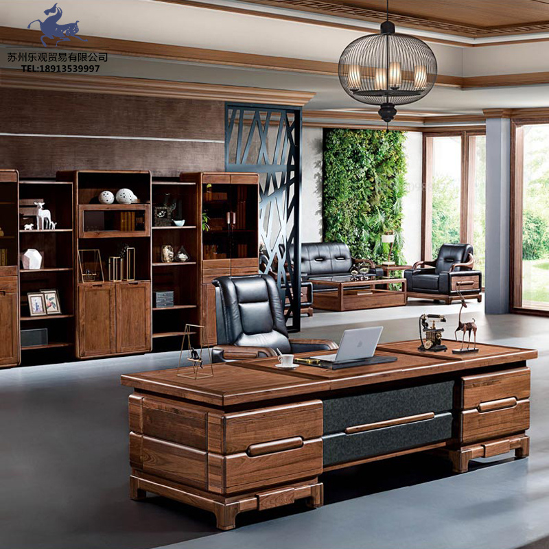New Chinese style office desk and chair combination simple large shift table modern solid wood boss table president table engineering Furniture Customization