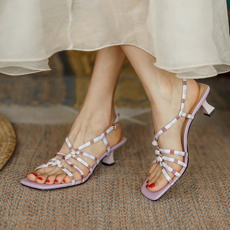 Fairy style sandals summer 2021 new evening party stiletto open toe crossed herringbone high heels
