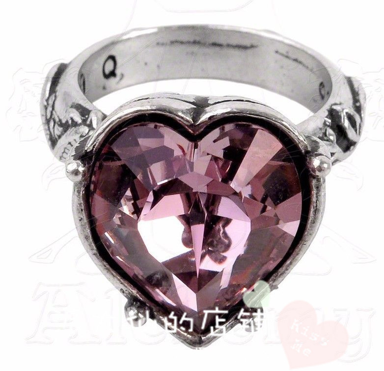 American buy Gothic Ring Pink Crystal Heart Rose snake ring r198 Gothic Ring fashion