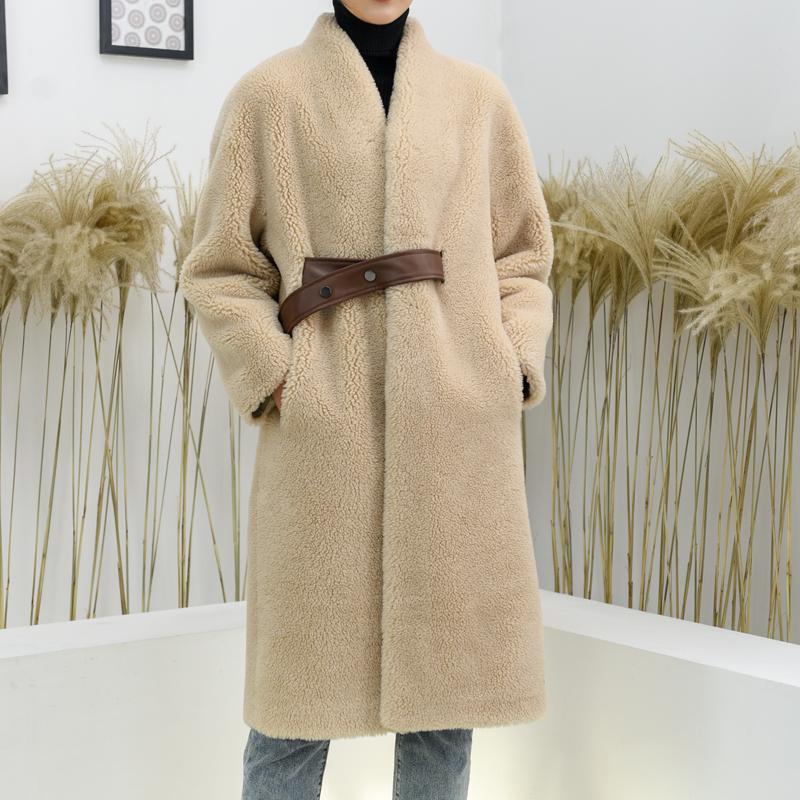 新款简欧定制羊剪绒颗粒羊羔毛外套女中长款宽松皮毛一体大衣