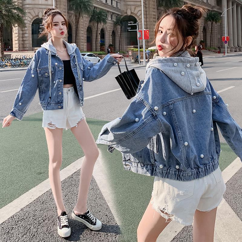 2021 spring and autumn Korean Jacket Womens loose nail bead hooded detachable short long sleeve top Jeans Jacket Women