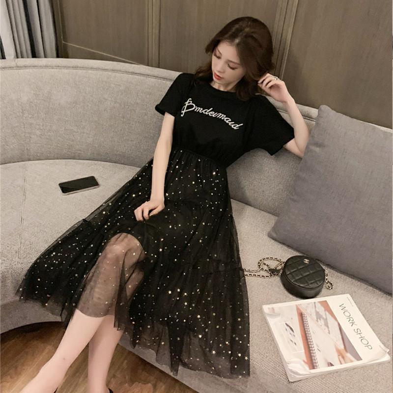 夏季undefined仙女收腰拼接亮片网纱中长款小黑裙子小个子连衣裙