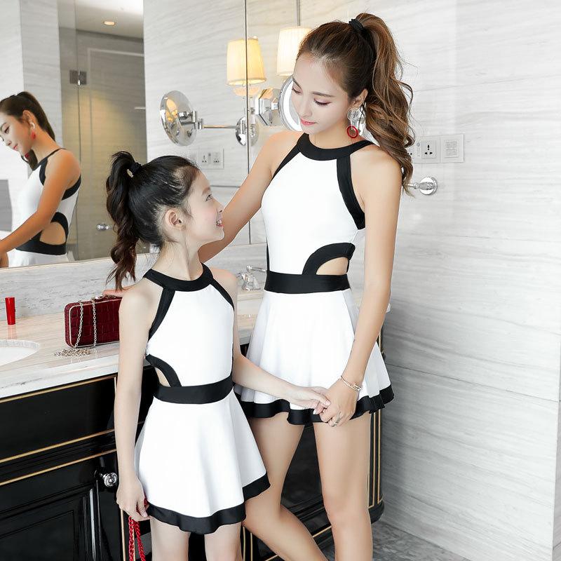 女童泳衣2018新款中大童公主裙式连体游泳衣亲子装韩国时尚性感潮