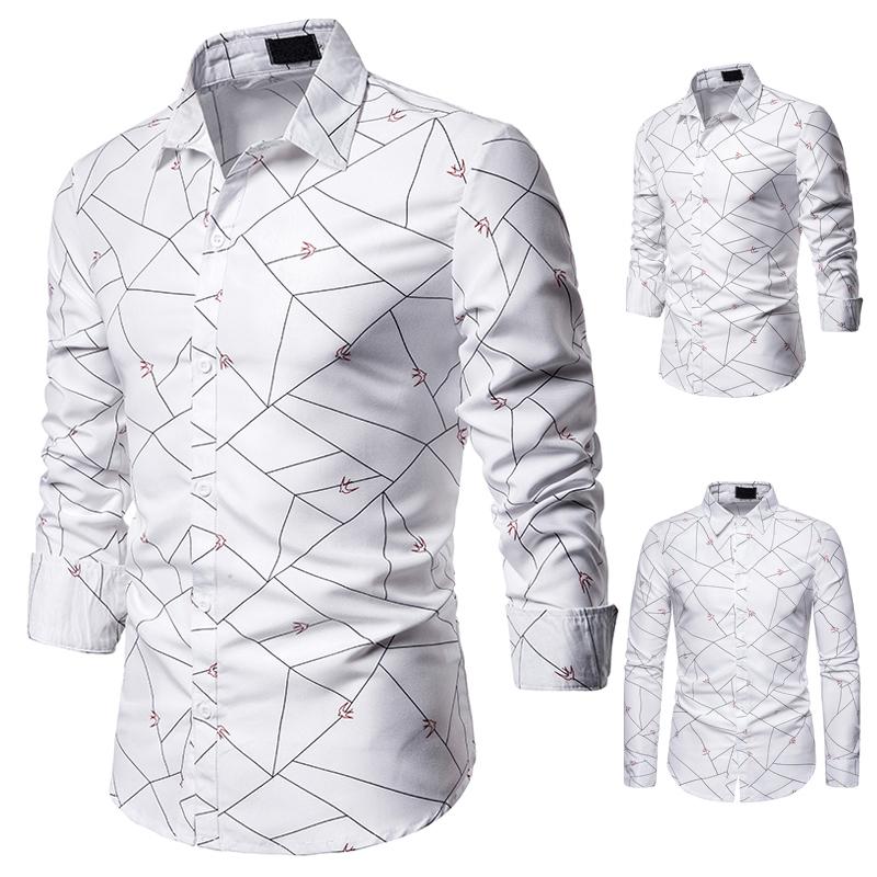 秋季新款  线条小乳燕特色图案装饰设计男式翻领长袖衬衫S104/40