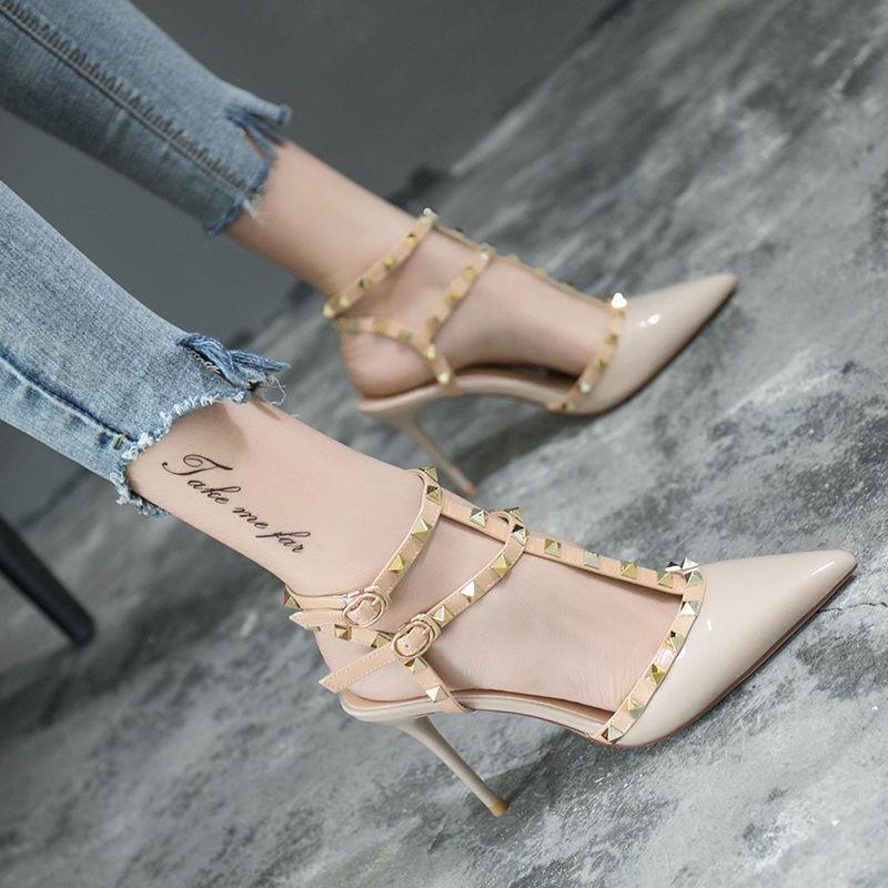 高跟鞋细跟单鞋女欧美百搭铆钉包头凉鞋女夏尖头一字扣罗马女鞋女图片