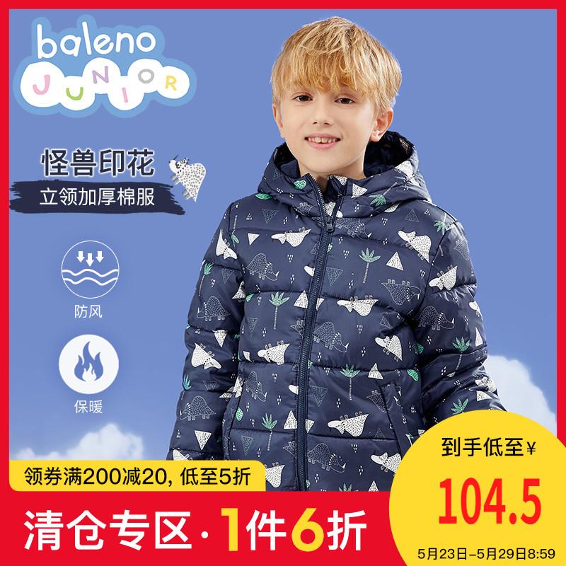 班尼路童装2020新款怪兽印花儿童棉衣洋气 男童冬装外套夹棉