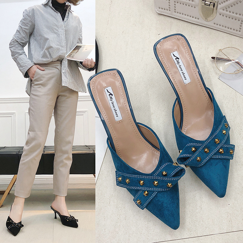 European and American style womens shoes high heels shallow mouth pointed sexy thin high heels single shoes versatile metal decoration