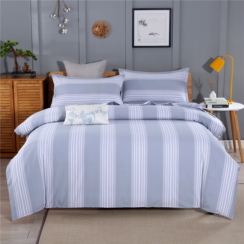 Factory wholesale old coarse cloth bed sheet single piece worsted cotton four piece set three piece double quilt cover boxing national style