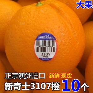 新上市澳洲进口新奇士sunkist蓝标3107脐橙新鲜橙子水果10个大果