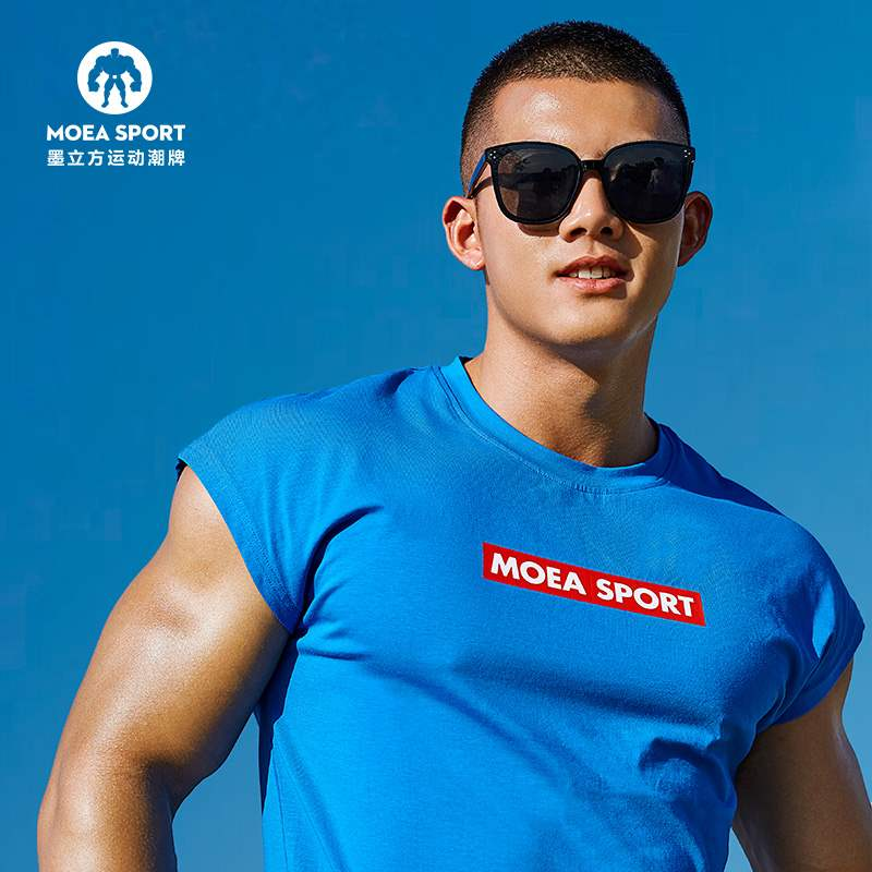 Authentic ink cube sleeveless fitness suit mens short sleeve T-shirt sports vest training top basketball shirt sleeve less