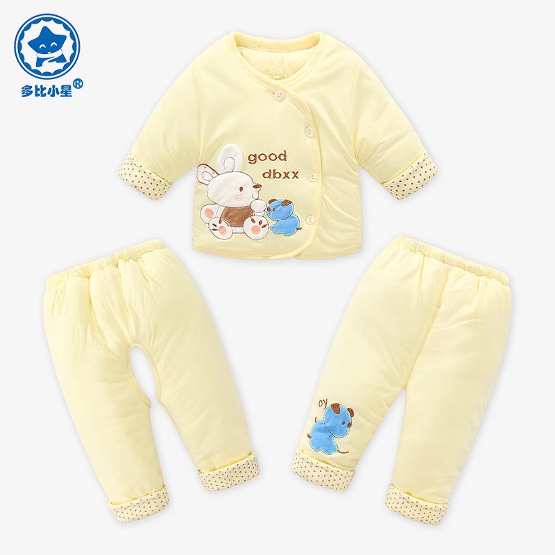 婴儿新年加厚棉服秋冬季新生儿棉衣套装衣服儿童外套男女宝宝冬装