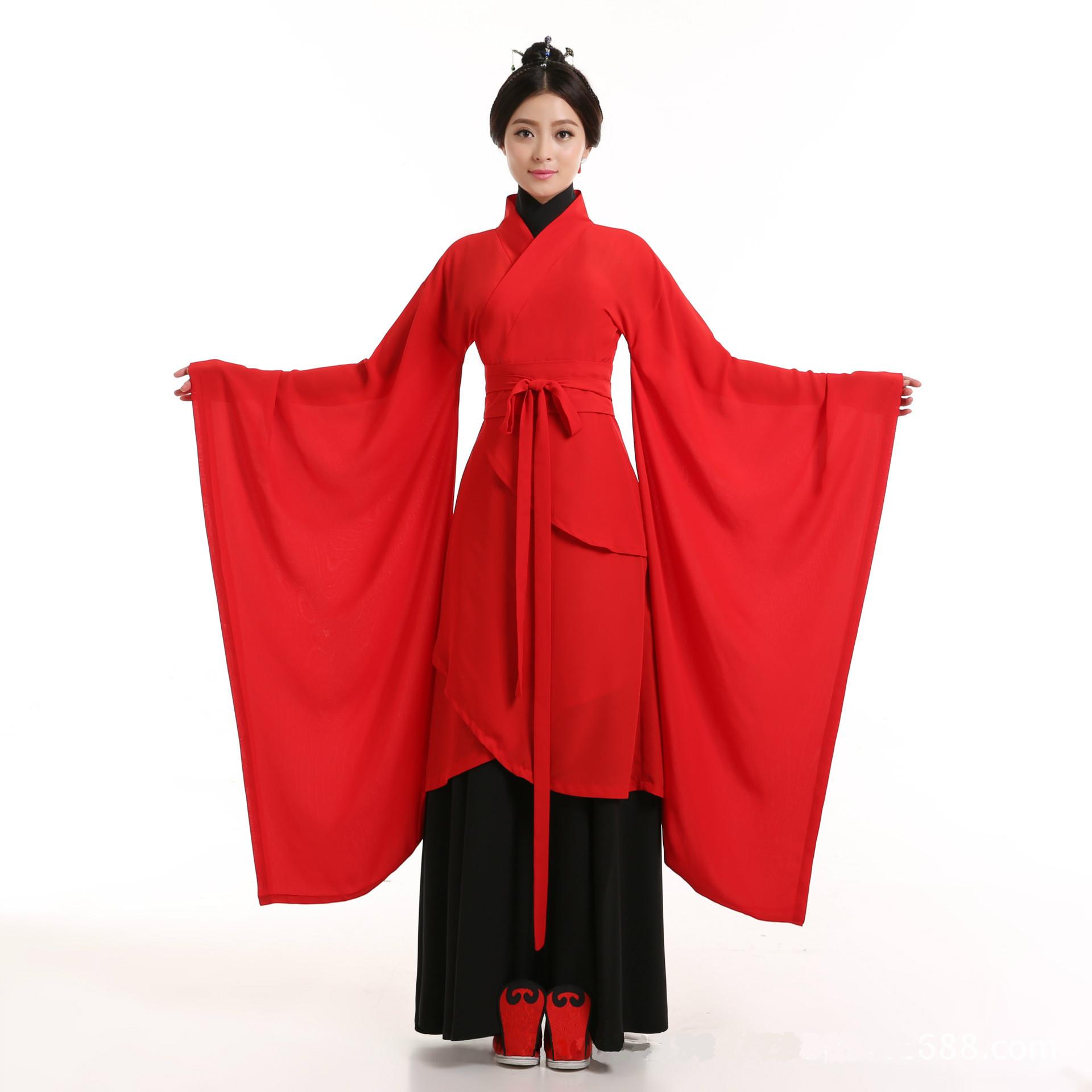 汉服女古装表演服礼仪之邦舞台曲裾修身绳系腰带长裙广袖流仙裙红