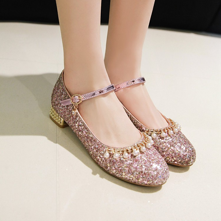 Water diamond pearl Sequin Lolita Student Korean buckle round head shallow mouth women's single shoe 2019 new size