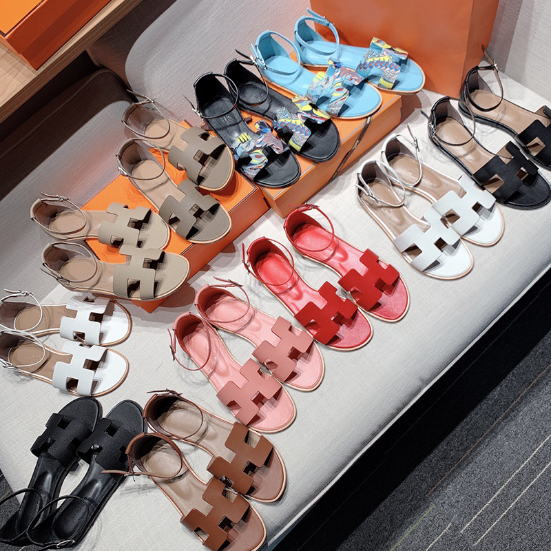 2021 summer new H print Bohemian sandals womens leather color matching one line buckle Roman beach slippers