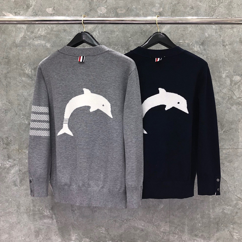 TB cardigan sweater early spring 2020 new mens and womens dolphin pattern V-neck single breasted T-shirt trend brand