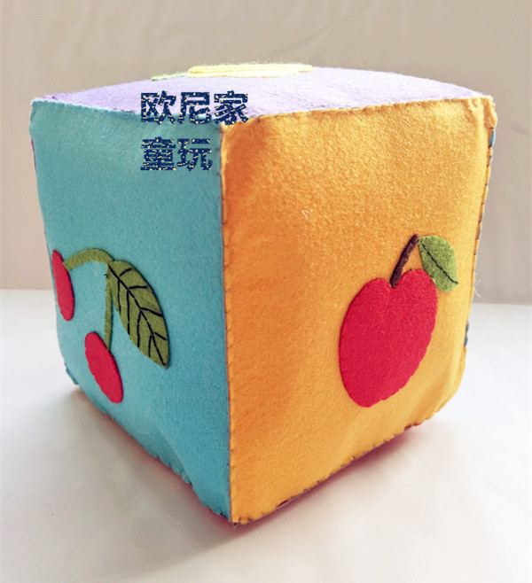 Manual non woven digital fruits and vegetables weather square building blocks parent child game dice kindergarten cognitive teaching aids