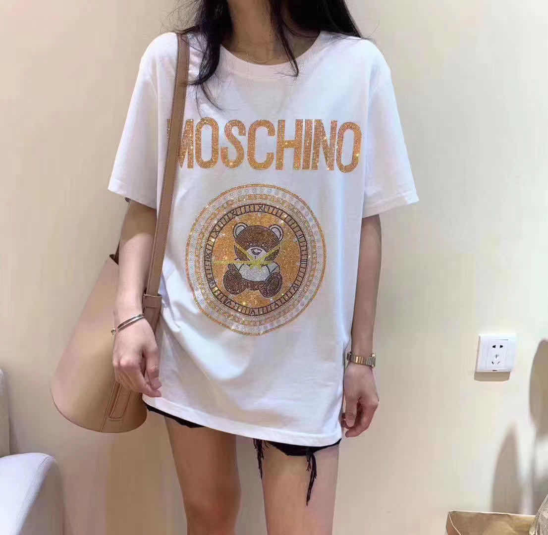 Heavy industry hot drill fashion brand large T-shirt womens short sleeve mid long summer new European and American loose half sleeve top