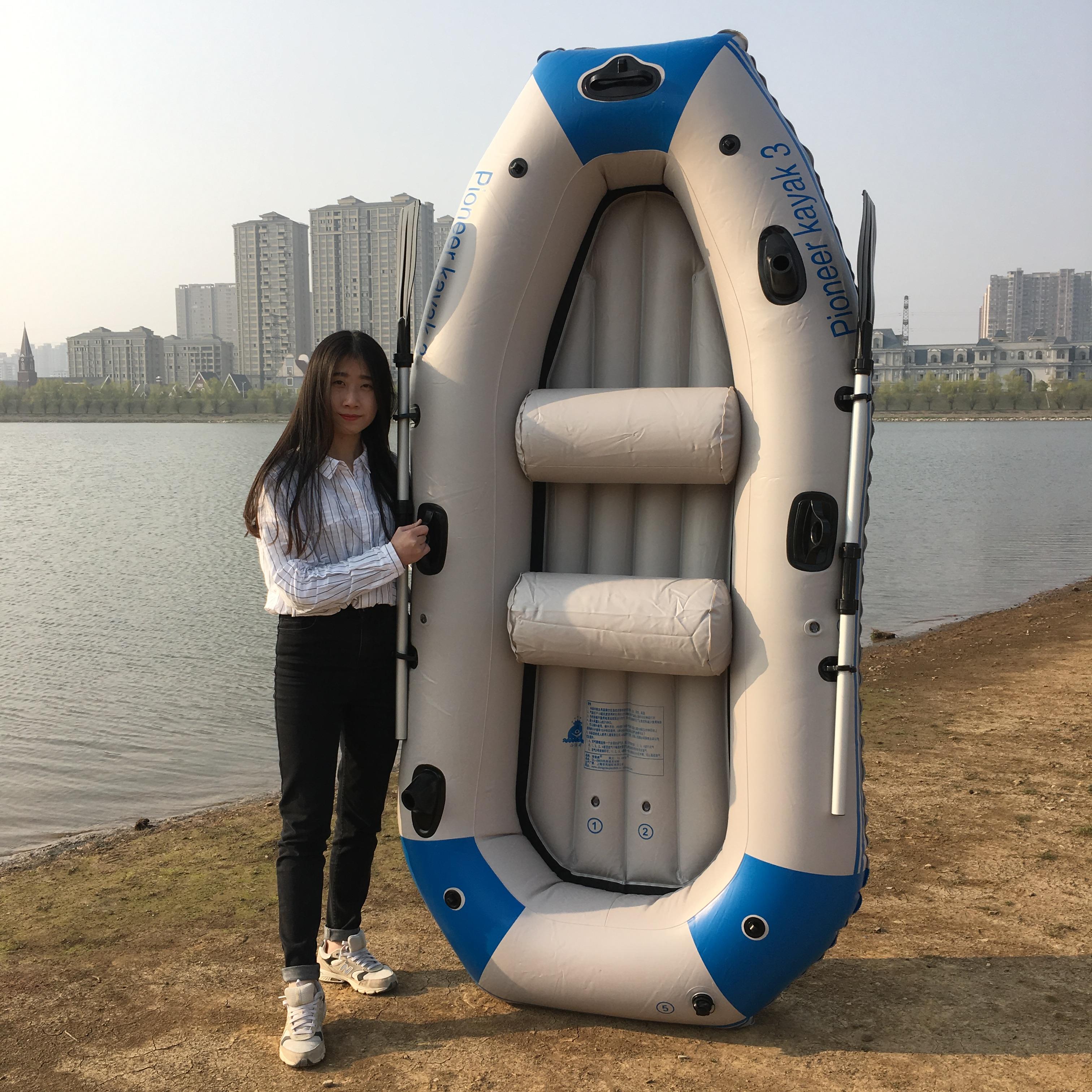 加厚4人充气船橡皮艇2人气垫船3人皮划艇三人钓鱼船四五人冲锋舟
