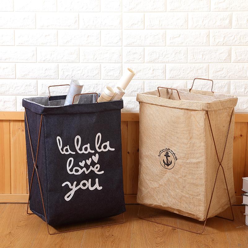 铁艺支架折叠脏衣篓洗衣篮大号棉麻防水脏衣篮玩具衣物家居收纳筐