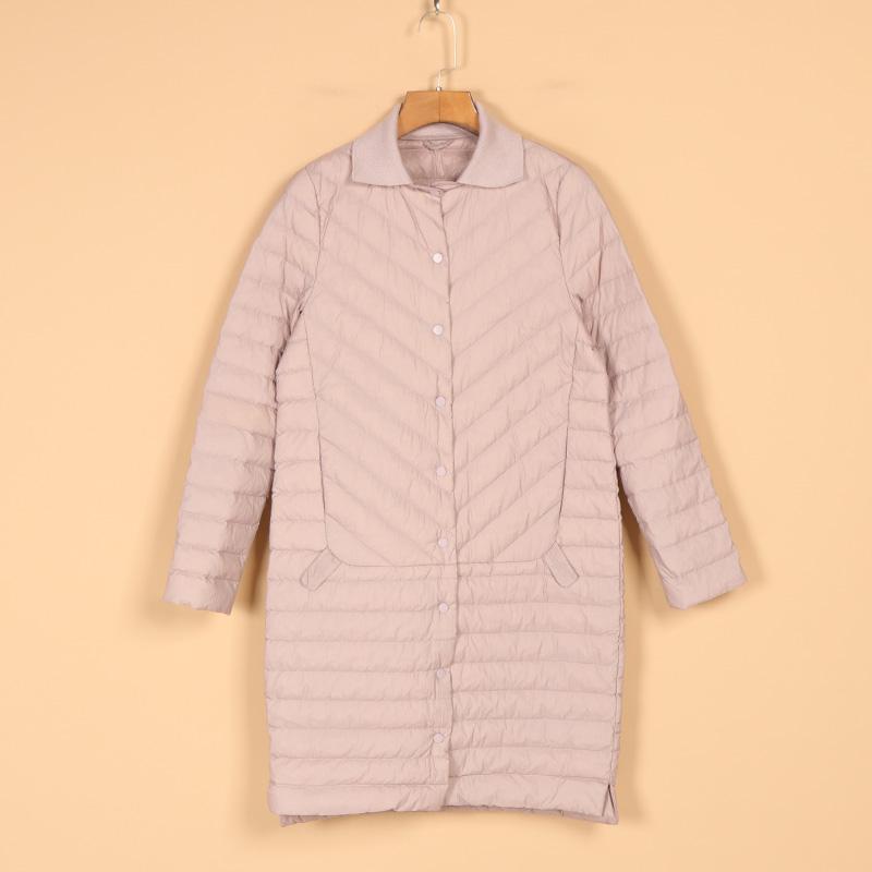 新品冬装2018折扣女装8B8229纯色中长款单排扣长袖直筒轻薄羽绒服