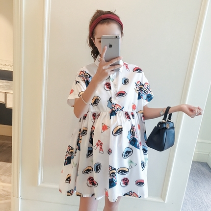 Pregnant womens dress spring new pleated skirt 2018 printed baby skirt loose short sleeve shirt skirt fashion maternity wear