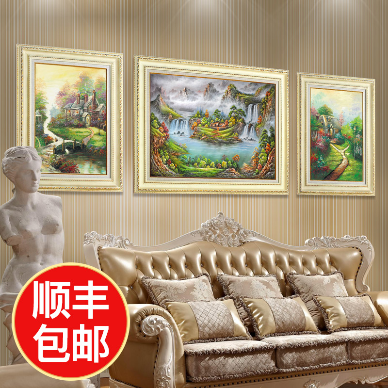 欧式客厅挂画沙发背景墙装饰壁画餐厅油画美式山水风景组合三联画