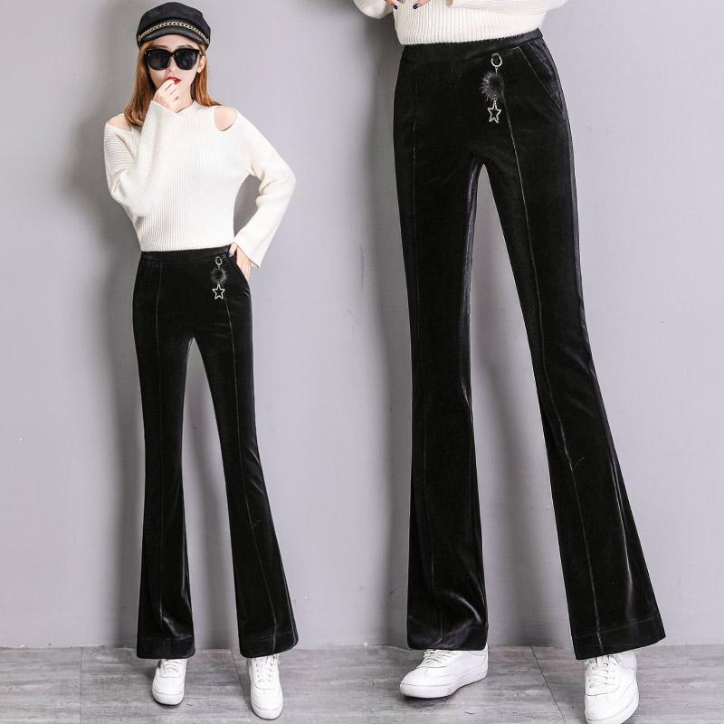 实拍 裤子女冬韩版金丝绒喇叭裤高腰时尚休闲长裤女装微喇裤