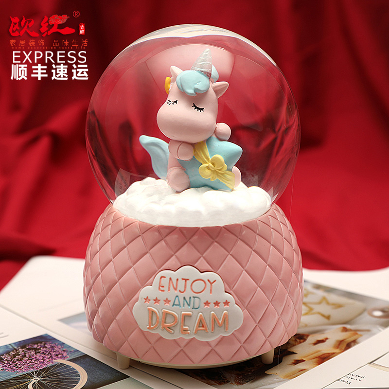 情人节冬天雪花音乐水晶球旋转发光八音盒送女生闺蜜生日创意浪漫