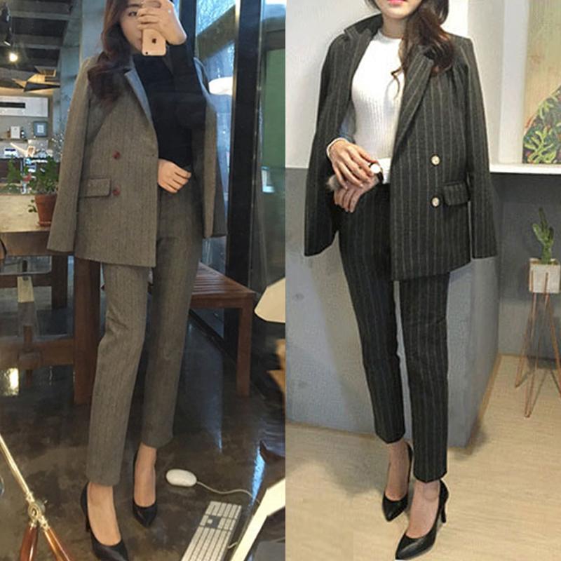 2021 new Korean spring dress striped tweed Blazer coat womens two-piece professional suit leisure temperament