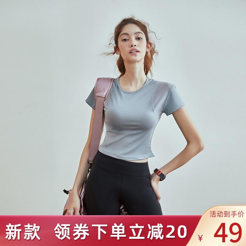运动t恤女修身显瘦速干短袖透气夏半袖跑步训练瑜伽服健身薄上衣