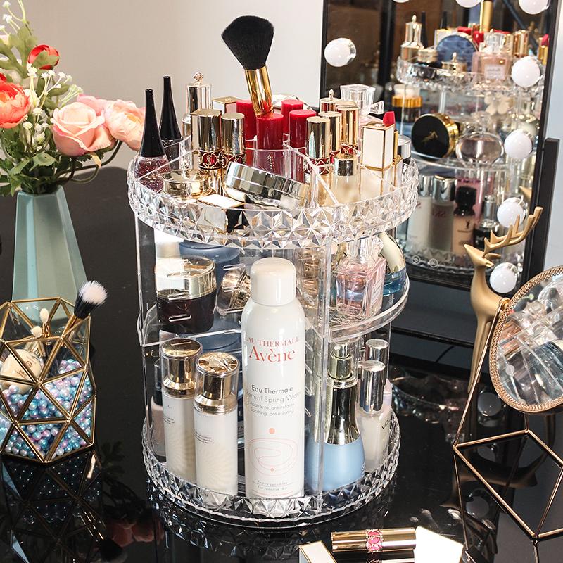 旋转化妆品收纳盒透明亚克力梳妆台护肤品口红桌面整理置物架网红