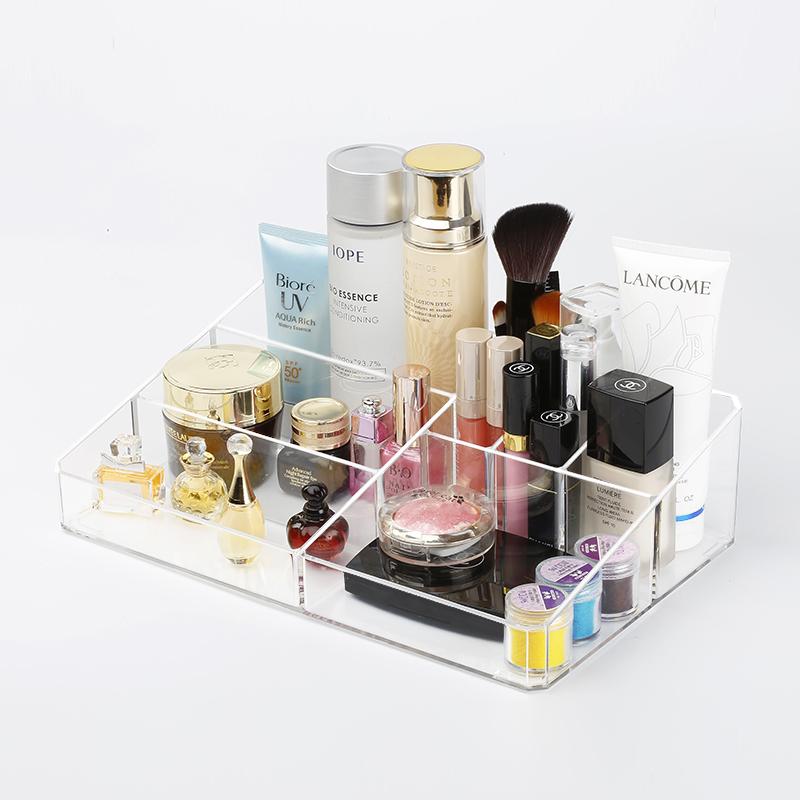 化妝品收納盒透明桌麵護膚品整理盒塑料梳妝台置物架儲物盒家用