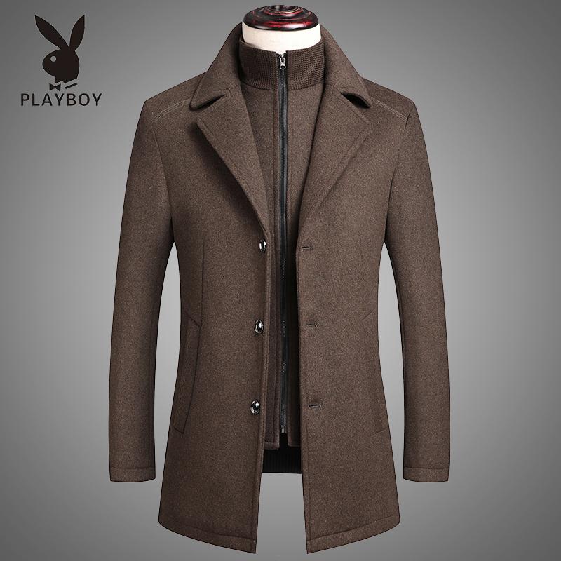 花花公子冬季中年男士羊毛呢大衣商务爸爸装加厚呢子风衣外套男