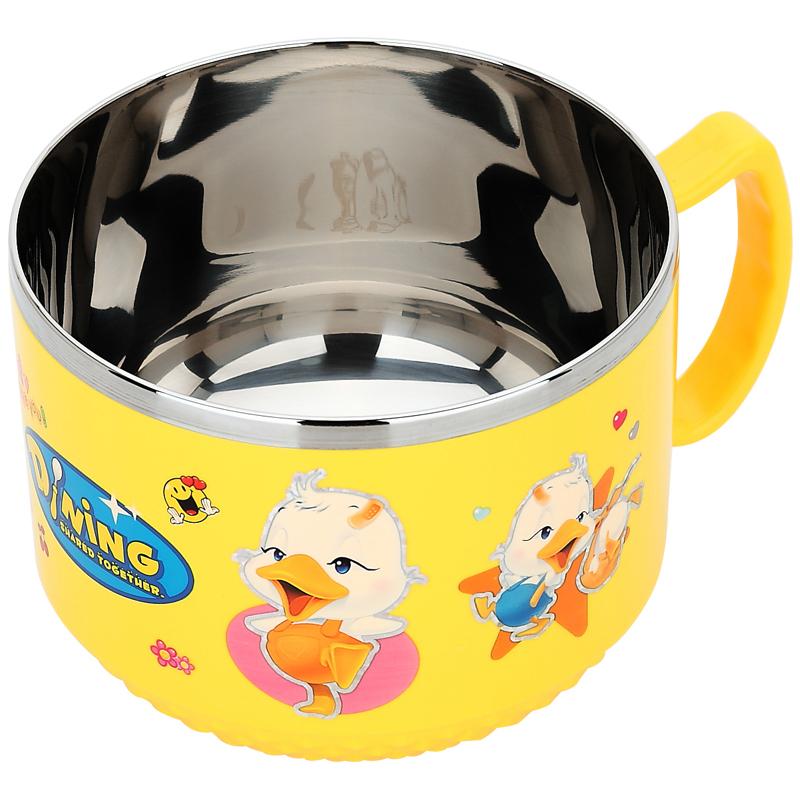 美廚MAXCOOK 兒童碗卡通不鏽鋼防摔 學生碗 可愛帶蓋密封隔熱